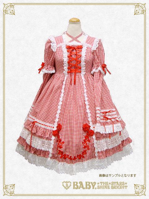 51f839217066a BABY本店「ギンガムチェックの巻きバラドールワンピース・ヘッドドレス ...