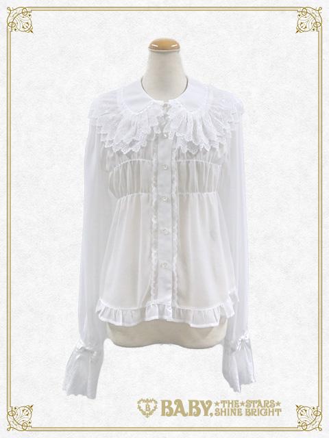 6fa50e63b1eb2 ... シフォンベビードールブラウス Chiffon baby doll blouse. B41BL424-w